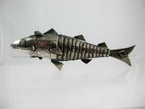 JUDAICA SILVER SPICE BOX ARTICULATED FISH C 1890'S