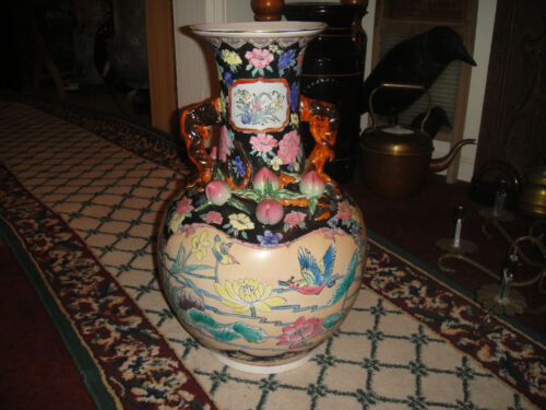 Superb Chinese Or Japanese Double Handle Floor Vase-Floral & Bird Pattern-Large