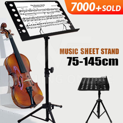 HEAVY DUTY LARGE PROFESSIONAL STAGE MUSIC SHEET STAND ADJUSTABLE FOLDING BLACK <br/> GIFT*Large bookplate* Non-slip Tripod*Fully Adjustable