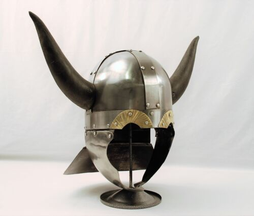 Viking Barbarian Warrior Helmet Medieval Armor with Horns & Display StandReenactment & Reproductions - 156374