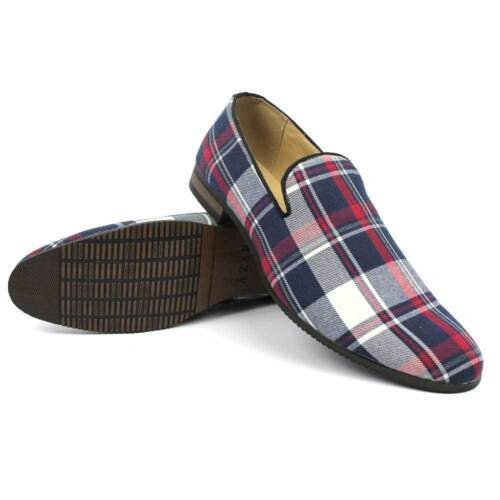 Slip On Loafers Plaid Blue Red White Mens Dress Shoes Modern Classy By AZAR MAN