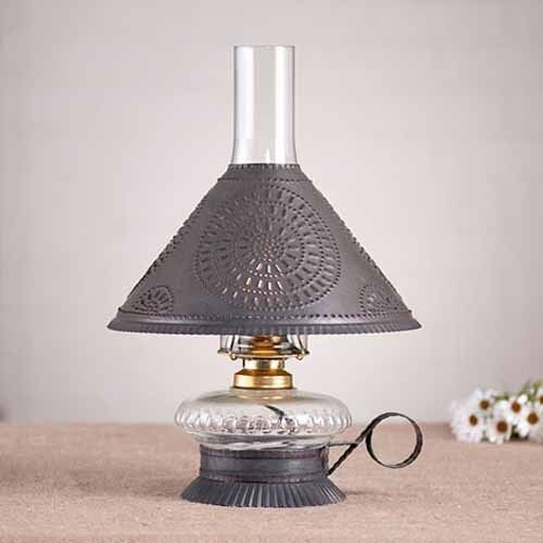 Electrified Oil Lamp - Blackened Tin | Cottage Table Lantern Accent Light