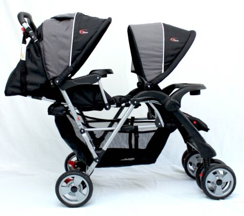 """New Mamakiddies Tandem Double Pram Twin Stroller New Born Toddler Baby Jogger <br/> Use code 'PATPAT"""" at check out to get extra 5% OFF"""