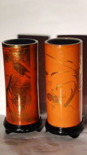PAIR ANTIQUE 19c CHINESE CORAL GROUND GILT PORCELAIN HAT STANDS WITH CALIGRAPHY
