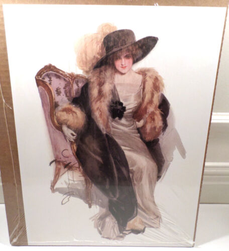 """Victorian Lithograph Print Picture """"Waiting"""" Harrison Fisher 12X16"""