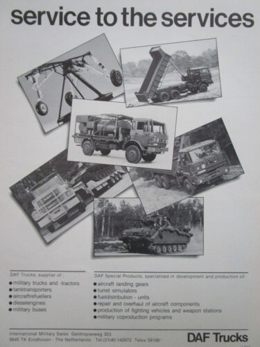9/1984 PUB DAF TRUCKS MILITARY TRUCK CAMION MILITAIRE PORTE CHAR FRENCH AD