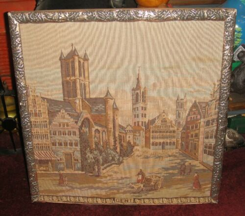 Vintage Gent Framed Tapestry European City Victorian Stitched Tapestry Large