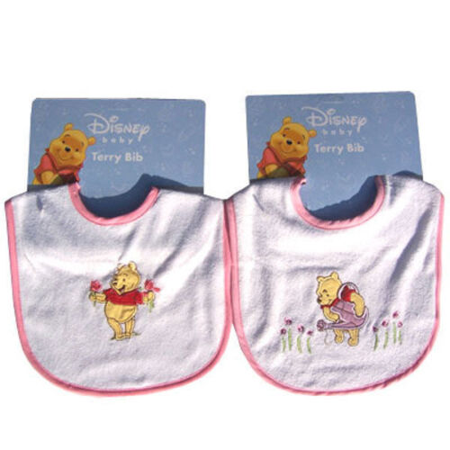 2 Embroidered Terry Bibs Winnie the Pooh & Flowers Baby Infant Girl Pinks NEW