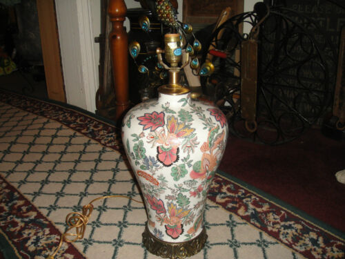 Chinese Asian Floral Bulbous Vase Table Lamp Colorful Flowers