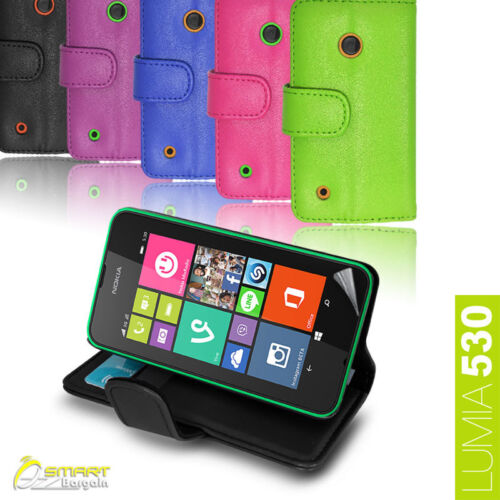 Wallet Flip Leather Stand Case Cover for NOKIA Lumia 530 + Screen Guard