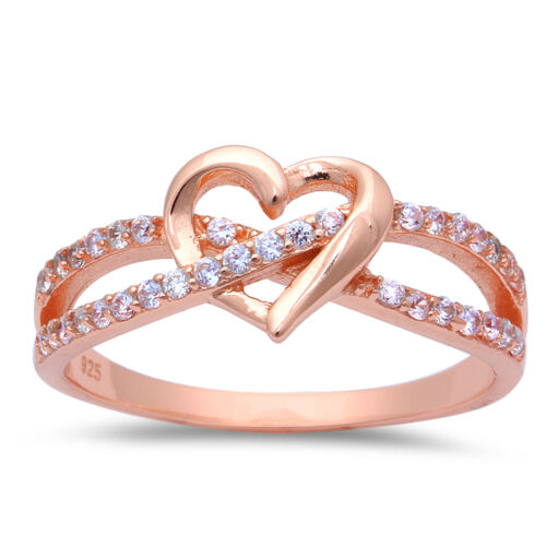 ROSE GOLD PLATED INFINITY LOVE KNOT HEART CZ Sterling Silver Promise Ring 3-12