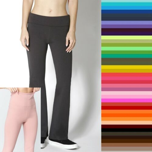 YOGA Pants Slim Fitness Foldover Waist EVERY DAY Active Basic Flare  S,M,L