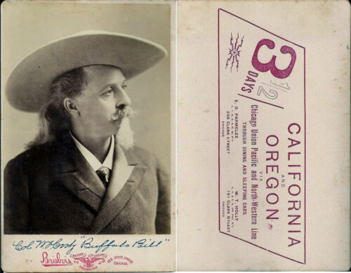 1899 Photo of Buffalo Bill Cody promoting the Overland Limited Train Service