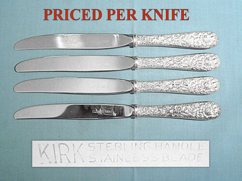 """S KIRK & SON STERLING 9"""" MODERN HOLLOW KNIFE(S) ~ REPOUSSE ~ NO MONO"""