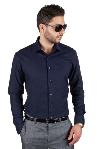 Navy Blue Tailored Slim Fit Mens Dress Shirt Wrinkle Free Spread Collar By AZAR