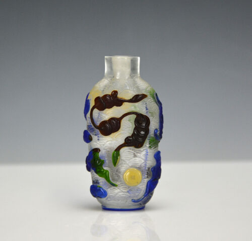 Vintage Chinese Colors Overlay Peking Glass Prosperity Carved Snuff Bottle