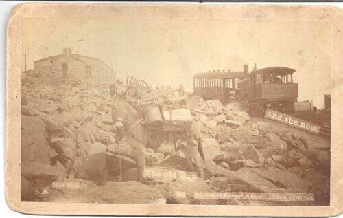Photo – Pikes Peak Railway Old & New ~ Pack Mule & Cog Railway by W E Hook c1890