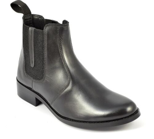Womens Ladies Leather Chelsea Boots Cowboy Ankle High Biker Outdoor Walking Shoe