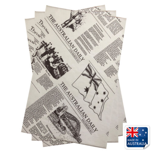 Greaseproof Paper Newsprint Style 200x300mm Pkt 200 Newspaper Fish Chips Burgers