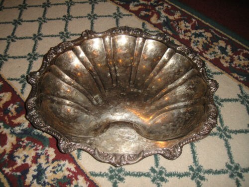 Vintage Poole Old English Silver Metal Clam Shell Serving Tray-#5927-Large-Feet