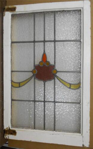 """LARGE OLD ENGLISH LEADED STAINED GLASS WINDOW Sheild Swoop design 21.75""""x34.75"""""""