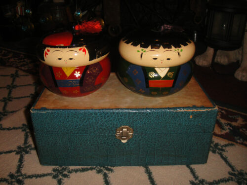 Vintage Japanese Or Chinese Painted Faces Kokeshi Lacquer Trinket Boxes-Pair