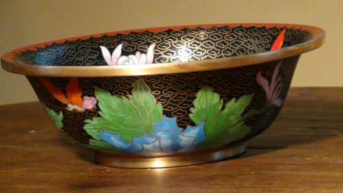 ANTIQUE  19C CHINESE CLOISONNE  PEONY  WITH BUTTERFLY DECORATION BOWL
