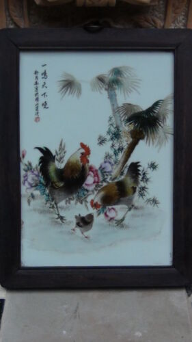 "ANTIQUE 19C CHINESE FAMILY ROSE PORCELAIN PLAQUE  ZODIAK  YEAR ""ROOSTER"""