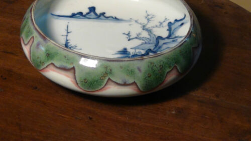 ANTIQUE 18C CHINESE PORCELAIN SHELLOW BOWL WITH FLAMBE GLAZE,B/W LANDSCAPE SCENE