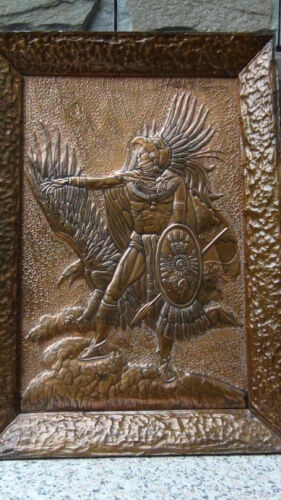 "RARE ANTIQUE CHASSED HIGH RELIEF COPPER PLAQUE ""AMERICAN INDIAN WARRIER & EAGLE"""