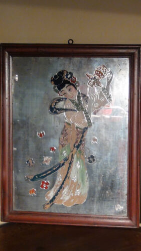 """ANTIQUE 18 C CHINESE REVERSE PAINTED GLASS """"YOUNG GIRL WITH BASKET DANCING"""""""