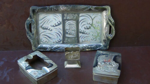 ANTIQUE WONDERFUL ASIAN TIBETIAN 4 PIECES SILVERED BRONZE TABACCO  HIGH RELIEF