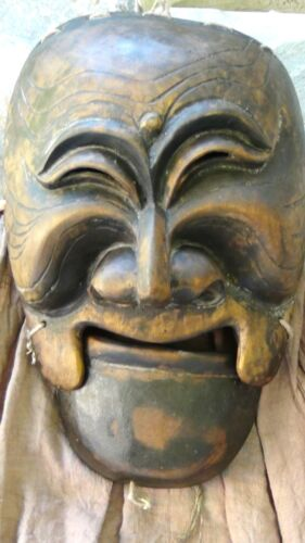 ANTIQUE OLD KOREAN  FINELY CARVED WOODEN CARVED MASK WITH MOVABLE JAW,SIGNED