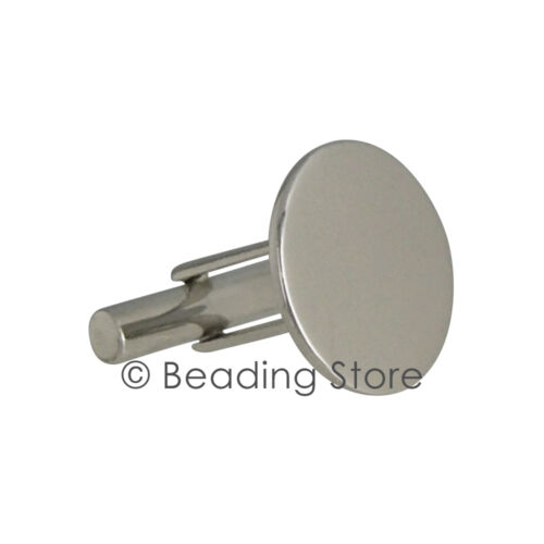 925 Sterling Silver Solid 17mm Round Disc Cufflinks Cuff Links High Polished