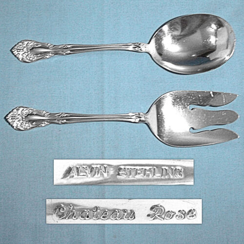 ALVIN STERLING 2-PIECE SOLID SALAD SERVING SET ~ CHATEAU ROSE ~ NO MONO