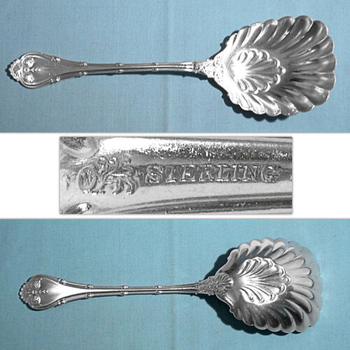 WHITING MFG STERLING LARGE SOLID SHELL BERRY / CASSEROLE SPOON ~ EMPIRE ~ MONO M