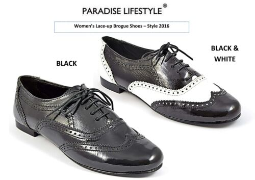 Black Patent Brogue Shoes Womens Ladies White Dance Heel Leather Loafers Oxfords
