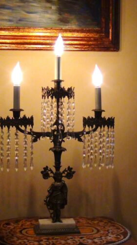 ANTIQUE 19c FRENCH BRONZE GIRANDOLE W/CRYSTAL PRISMS CONVERTED TO ELECTRIC