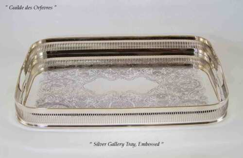Silver Gallery Tray, Plain and Pierced Border