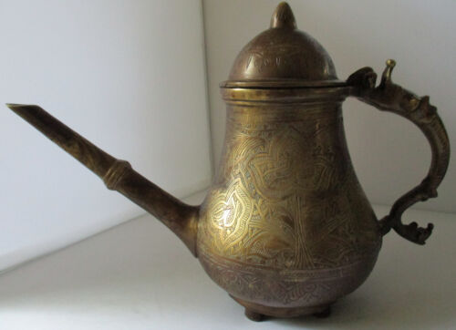 VERY HEAVY SOLID BRASS ANTIQUE TURKISH MIDDLE EAST DALLAH DECORATED COFFEE POT