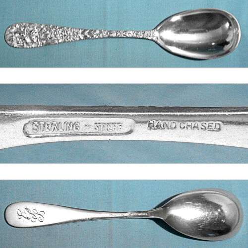 """STIEFF STERLING 8 1/2"""" HAND CHASED SERVING SPOON ~ PRINCESS ~ MONO ESS"""