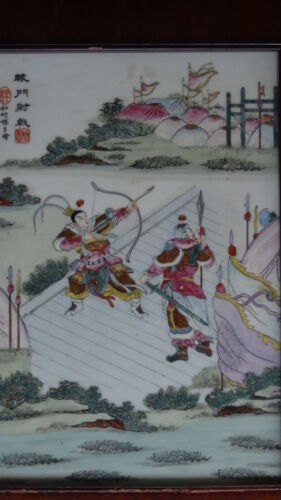 ANTIQUE CHINESE POLYCHROME HAND PAINTED PORCELAIN PLAQUEG 2 WARRIORS FIGHTING #1