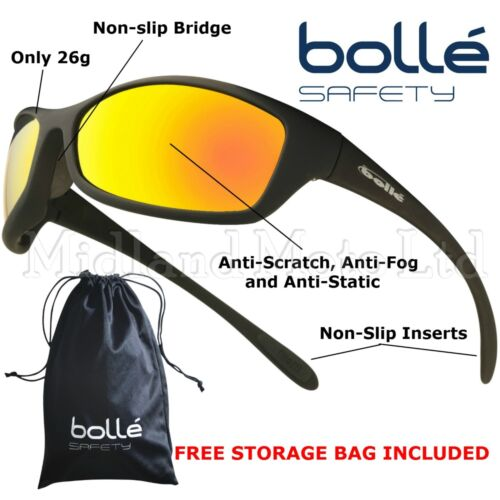 Bolle Spider Flash  Mirror Lens Safety Sunglasses, EN166 -1FT Safety Sun Glasses