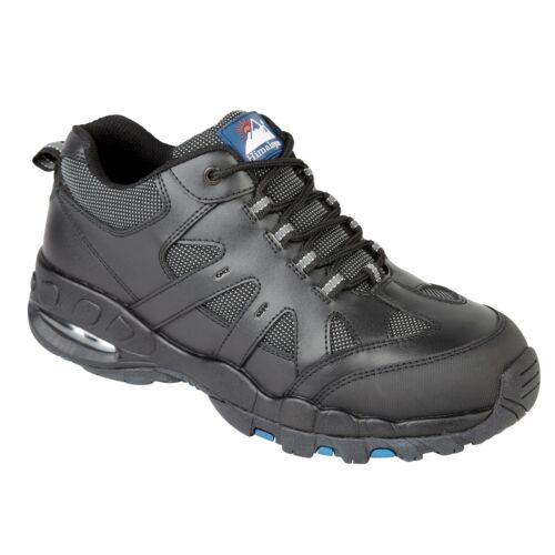 Steel Toe Cap Black Leather Trainer Style Safety Shoes. Sneaker Plimsoll Boots
