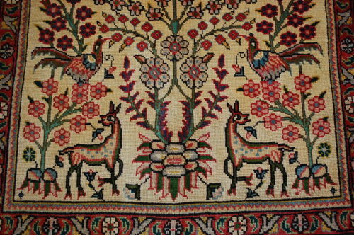 c1930s ANTIQUE HIGHLY DETAILED ANIMAL SUBJECTS TBRZ RUG 3x4.3