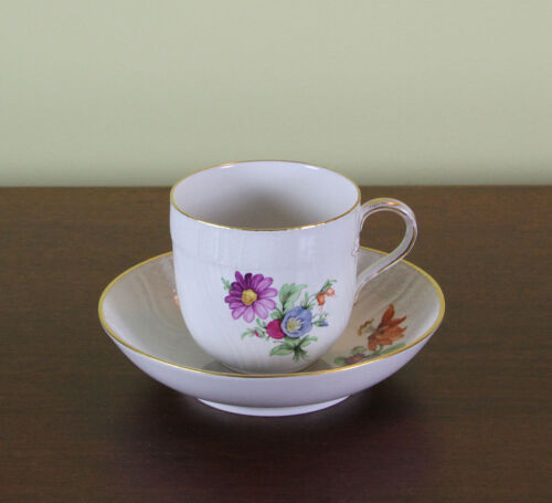 Collectors Hand-Painted Coffee Cup & Saucer with Multi Colored Flower Decoration
