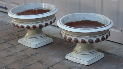 PAIR ANTIQUE ASIAN CHINESE LARGE BEIGE GLAZED TERRACOTA PLANTERS ON SQUARE BASE