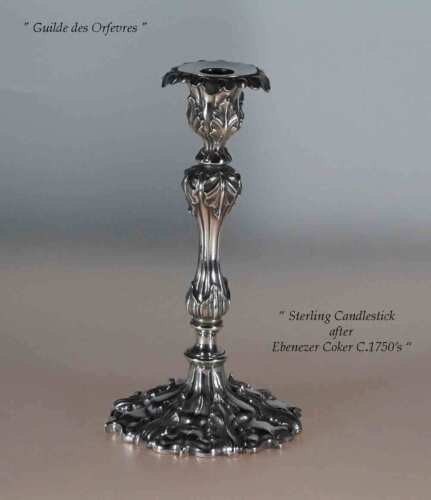 Sterling Silver Candlestick,  after Ebenezer Coker
