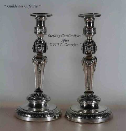 Sterling Silver Candlesticks,  Georgian Style