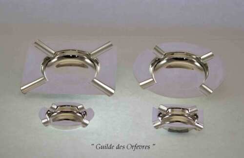 Set of 4 Different Quality Silver Ash Trays